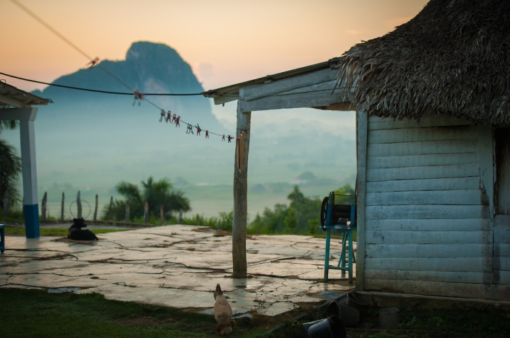Blue house on top of Los Aquaticos, Vinales, Cuba